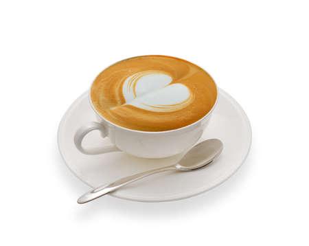 latte art: Latte art coffee isolated on white background Stock Photo