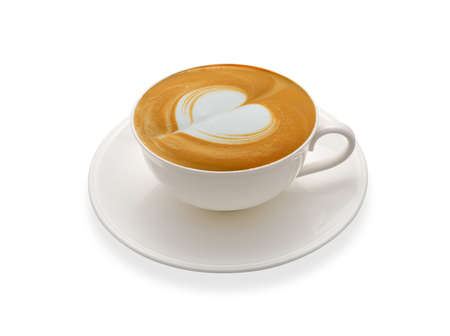 white heart: Latte art coffee isolated on white background Stock Photo