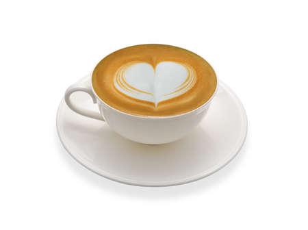 Latte-kunstkoffie op witte achtergrond wordt geïsoleerd die