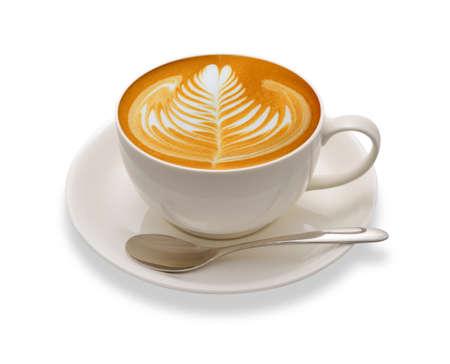 capuchino: Café de Latte arte aisladas sobre fondo blanco