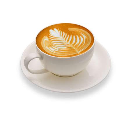 白い背景で隔離のカフェラテ アート コーヒー