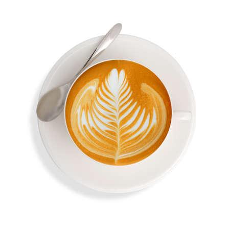 カフェラテ アート コーヒーを白い背景を分離します。