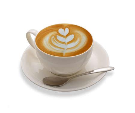 Latte kunst koffie op een witte achtergrond