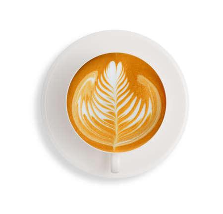 taza cafe: Café de Latte art aislar sobre fondo blanco
