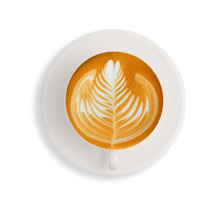 filiżanka kawy: Latte art  coffee isolate on white background