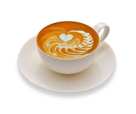 Latte Art Kaffee isoliert auf weißem Hintergrund Standard-Bild
