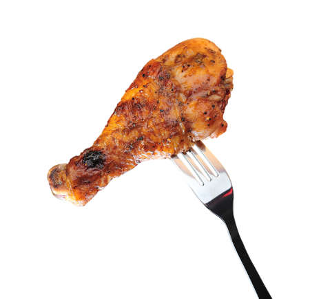 Grilled chicken leg isolated on white background