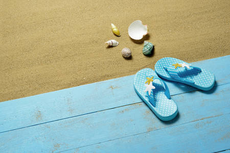 flip flops: Childrens flip flops and sea shells on the sandy beach