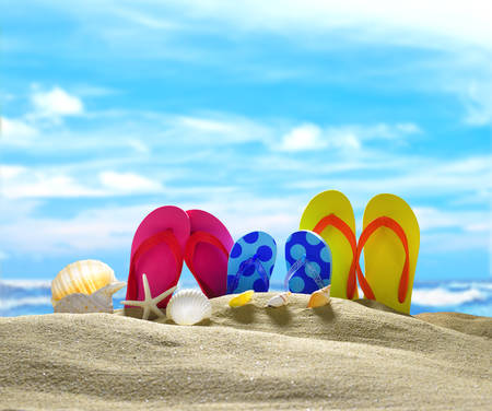 flip flops: Flip flops and seashells on the sandy beach with blue sea and sky