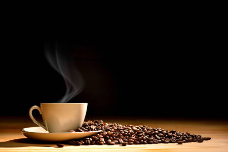 Cup of coffee with smoke and coffee beans on old wooden background Standard-Bild