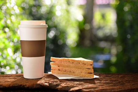 Paper cup of coffee and sandwich in the garden Stock Photo