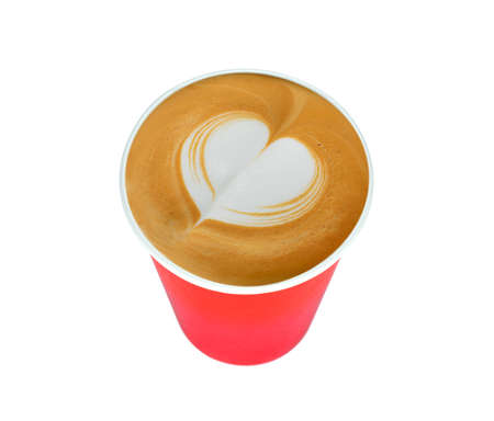 red food: Latte Art, paper cup of cafe latte isolated on white backgroundred cup