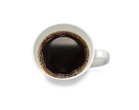 Top view of a cup of coffee, isolate on white background