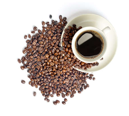 Cup of coffee and coffee beans isolated on white background Imagens