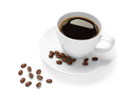 Cup of coffee and coffee beans isolated on white background 스톡 콘텐츠