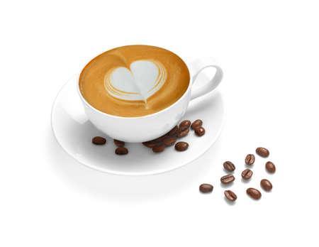 capuchino: Taza de café con leche y granos de café aislados en el fondo de color blanco Foto de archivo