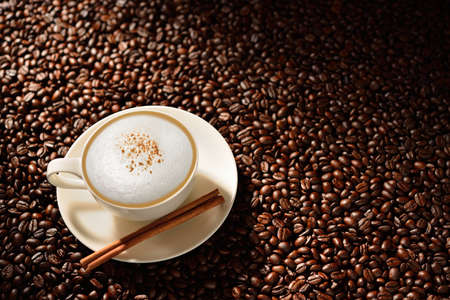 cappuccino cup: Cup of cappuccino and cinnamon on coffee beans
