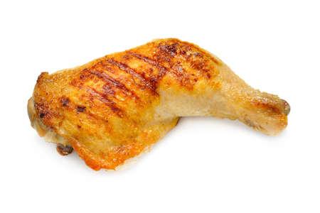 muslos: Muslo de pollo a la parrilla aislado en fondo blanco Foto de archivo