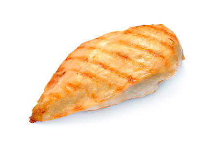 hot breast: Grilled chicken breast isolated on white background