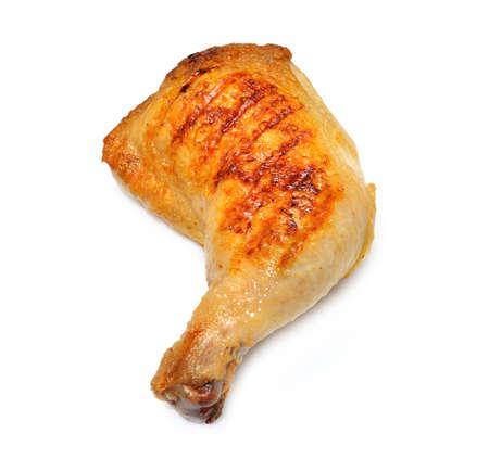 pollo a la brasa: Muslo de pollo a la parrilla aislado en fondo blanco Foto de archivo