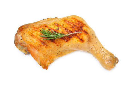 Grilled chicken thigh isolated on white background