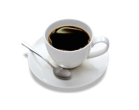 커피 한 잔의 상위 뷰, 흰색에 격리