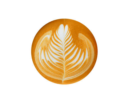 Leaf -shaped Latte Art, coffee isolated on white background