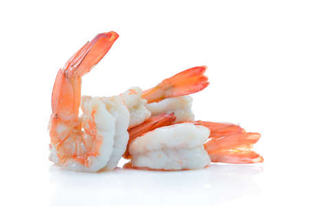 Cooked shrimps,prawns isolated on white background Stock Photo