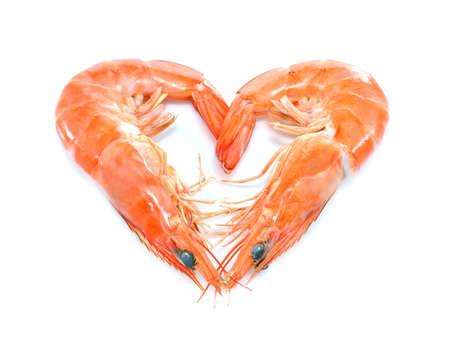 Cooked shrimps,prawns heart shape isolated on white background Stock Photo