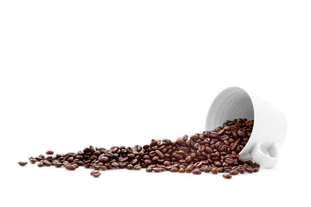 coffee grains: Coffee beans in coffee cup isolated on white