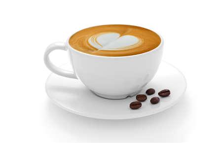 Taza de café con leche y granos de café aislados en el fondo blanco