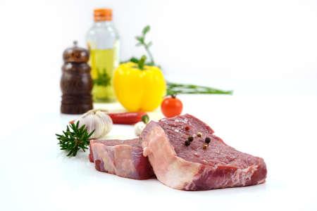 Raw meat, beef steak isolated on white background (rib eye)
