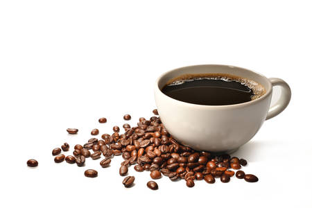 Cup of coffee and coffee beans isolated on white background Archivio Fotografico