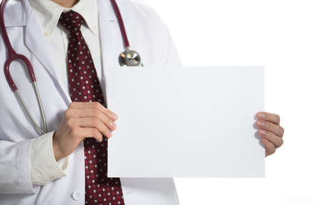 Medical doctor holding white blank paper facing the front on white background