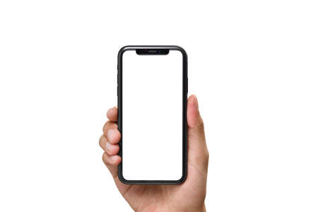 Hand holding the black smartphone with blank screen and modern frame less design isolated on white