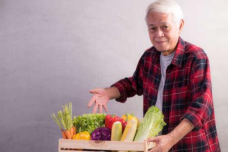 Healthy Asian senior man with crate full of fruits and vegetables Stockfoto