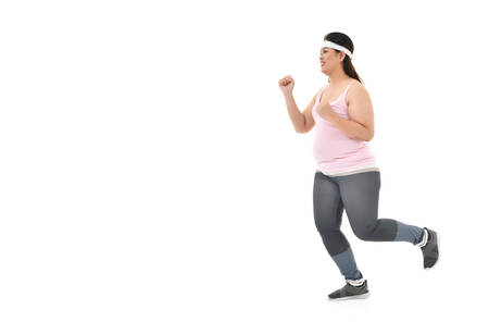 Overweight Asian woman running  isolated on white background