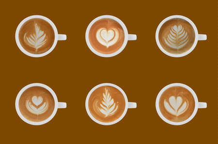 Variety of cups of coffee latte on colour background