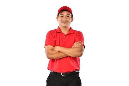 Portrait of male delivery man, messenger, employee, worker, service provider smiling and looking happy and welcome