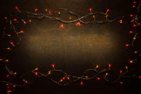 Christmas decoration light on stone background top view with copy space for frames, presents, and festive Christmas decoration Banque d'images - 156595328