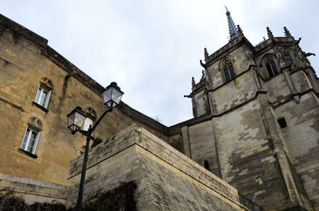 Amboise, France - December 21, 2011: Wall of Amboise castle with the Chapel of Saint-Hubert
