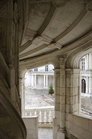 Blois, France - December 20, 2011: Renaissance staircase in the royal castle of Blois
