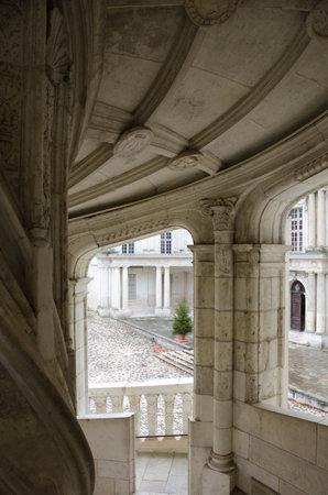 Blois, France - December 20, 2011: Renaissance staircase in the royal castle of Blois