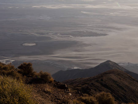 View of the Death Valley from the top of the mountain