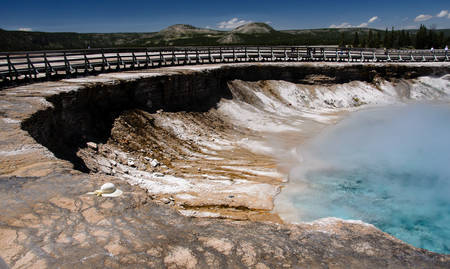 excelsior: Excelsior geyser crater in Yellowstone national park Stock Photo
