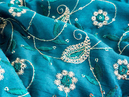 Blue fabric with paisley ornament photo