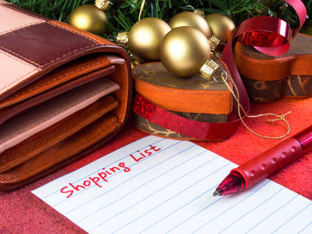 shopping list: Holiday shopping Stock Photo