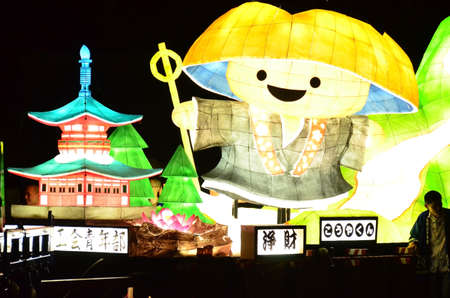 Koya, Japan - June 14, 2011: Lantern float with Mount Koya mascot character during Aoba festival Editorial