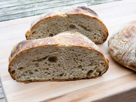 french boule: Round french boule bread cut in half