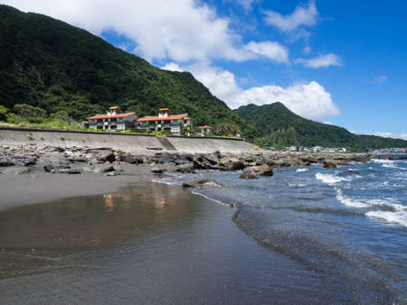 honey moon: Touchen, Taiwan - August 26, 2014: Sunny day on Daxi beach in Honey Moon Bay